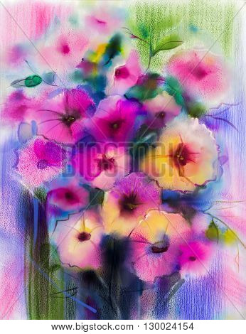Abstract floral watercolor painting. Hand paint White Yellow Pink and Red color of daisy- gerbera flowers in soft color on blue- green color background. Spring flower seasonal nature background