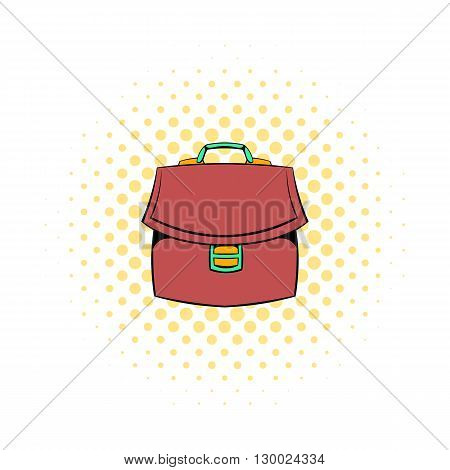 Brown business briefcase icon in comics style on a white background