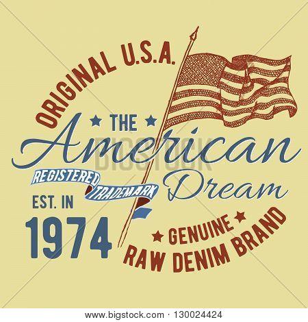 T-shirt Typography Design, Usa Printing Graphics, Typographic American Vector Illustration, United S