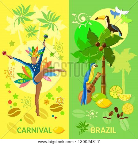 Brazil banners Carnival Brazilian Brazilian culture jungle Brazil vector illustration