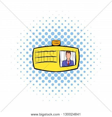 Identification card icon in comics style on a white background