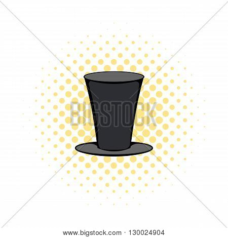 Male black cylinder icon in comics style on a white background