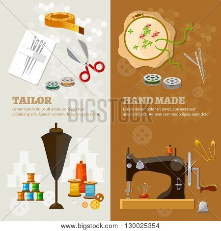 Tailor banners tailoring tools seamstress fashion designer needlework vector illustration