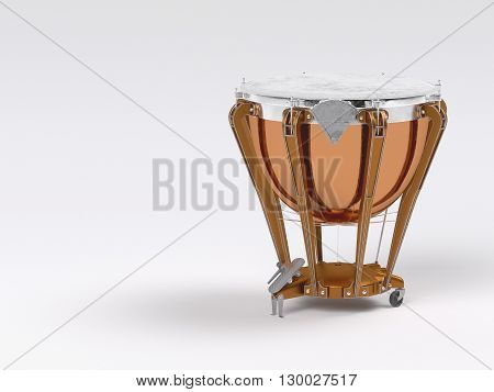 Timpani  on white  background. Aged. 3D rendering