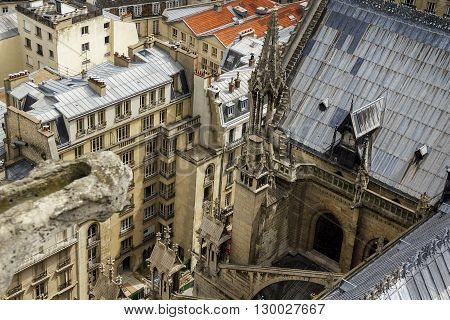 Paris, France - May 13: These are residential city blocks under the walls of Notre Dame de Paris from the heights of one of its towers May 13, 2013 in Paris, France.