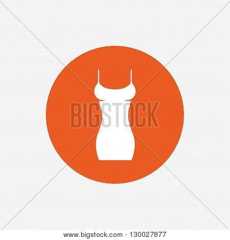 Women dress sign icon. Intimates and sleeps symbol. Orange circle button with icon. Vector