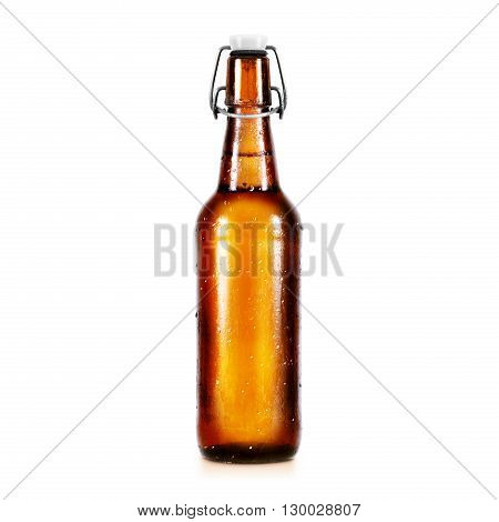 Blank beer bottle mockup without label, stand isolated. Clear alcohol beverage botle mock up with clipping path. Cold wet beer flask template front view. Brewery bottle label branding. Beer corporate.