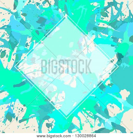 Template with semi-transparent white square over pastel colored blue and green artistic paint splashes.