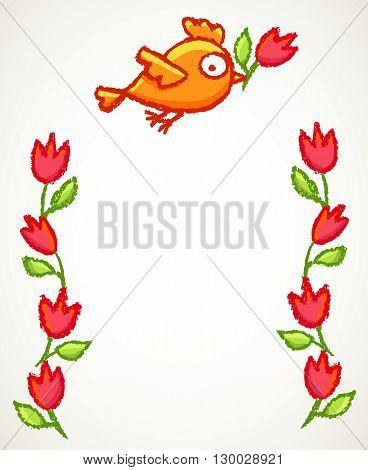 Cute Little Bird And Flowers Frame