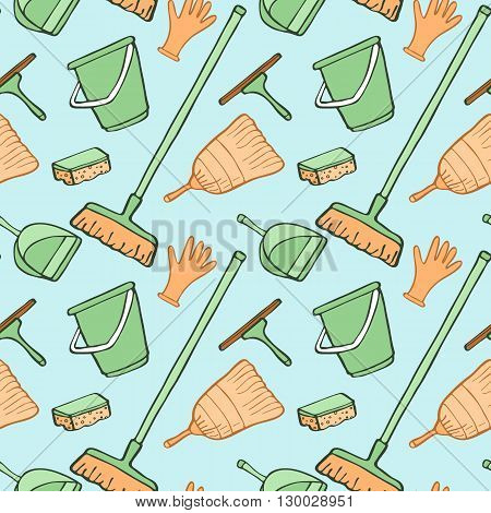 Cleaning tools sketch. Seamless pattern with hand-drawn cartoon icons - bucket, sponge, gloves, brush, dustpan. Doodle drawing. Vector illustration - swatch inside