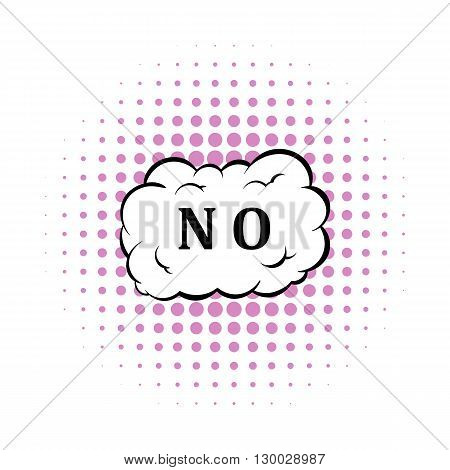 No in cloud icon in comics style on a white background