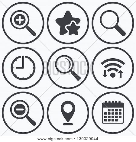 Clock, wifi and stars icons. Magnifier glass icons. Plus and minus zoom tool symbols. Search information signs. Calendar symbol.