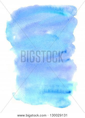 Hand drawn watercolor wash. Colorful paint stain. Vertical background in sky blue. Grunge design element in bright juicy colors.