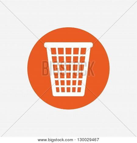 Recycle bin sign icon. Bin symbol. Orange circle button with icon. Vector