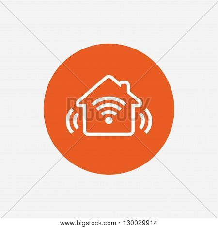Smart home sign icon. Smart house button. Remote control. Orange circle button with icon. Vector