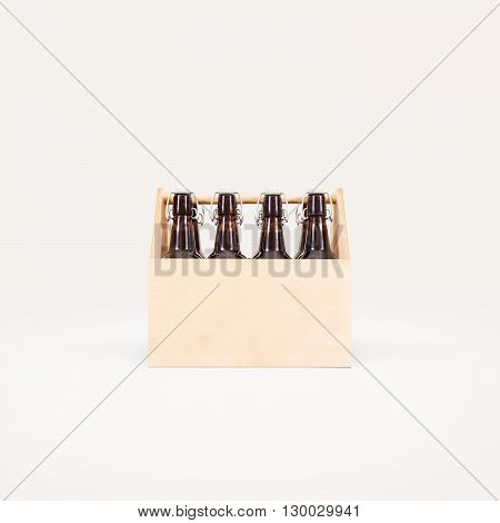 Beer wooden box mock up isolated. Blank wood cold beer packaging stand front. Wood beer package surface design presentation. Beer crate on beautiful background. Beer logo branding identity template.