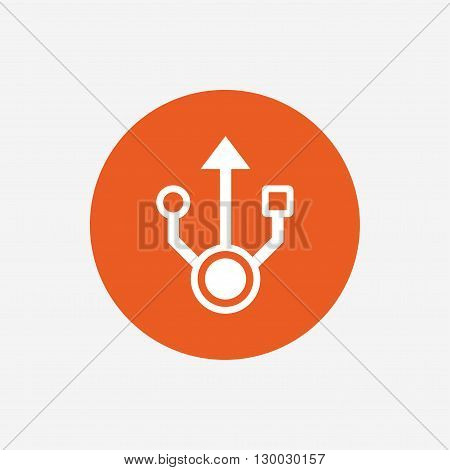 Usb sign icon. Usb flash drive symbol. Orange circle button with icon. Vector