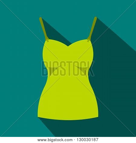 Green womans tank top icon in flat style on a blue background