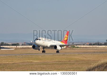 Simferopol Ukraine - September 12 2010: Capital Airlines Airbus A319 is taking off from the airport