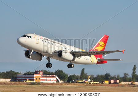 Simferopol Ukraine - September 12 2010: Capital Airlines Airbus A319 is taking off from the airport in the evening