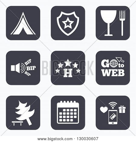 Mobile payments, wifi and calendar icons. Food, hotel, camping tent and tree icons. Wineglass and fork. Break down tree. Road signs. Go to web symbol.