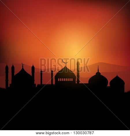 Ramadan landscape background at sunset