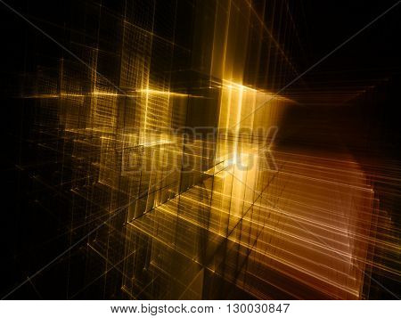 Abstract background element. Fractal graphics series. Three-dimensional composition of intersecting grids. Information technology concept. Yellow and black colors.