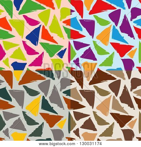 Set of seamless vector geometrical patterns of distorted triangles in different colors