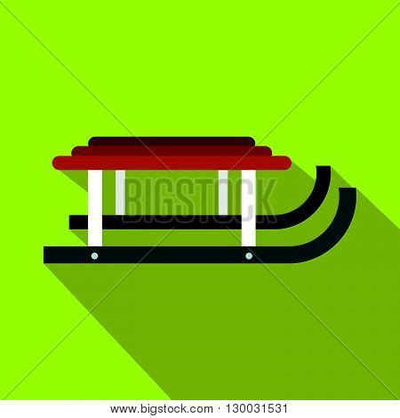 Winter sled icon in flat style with long shadows