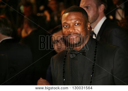 Christopher «Chris» Tucker leave the 'Hands Of Stone' premiere during the 69th annual Cannes Film Festival at the Palais des Festivals on May 16, 2016 in Cannes, France.