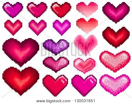 Pixel hearts set. Love theme pixel heart symbols. Trendy old game style icons. Pixel heart shapes. Old-fashion arcade hearts. Pixel art love heart. Red simple heart shape. Romantic vector symbols.
