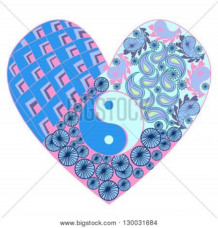 Hand drawn heart with Yin yang symbol asian element on white Background. Vector illustration for design anti-stress coloring book for adults.