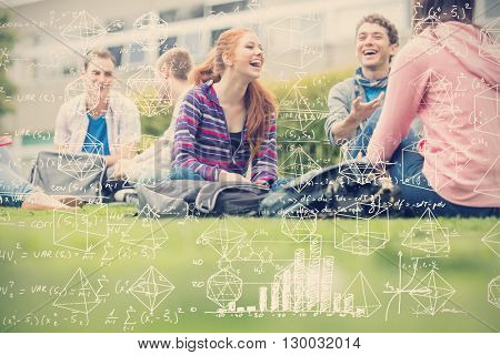 Maths against college students sitting in the park