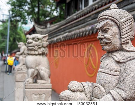 Chinese sculpture statue in close focus shallow DOF