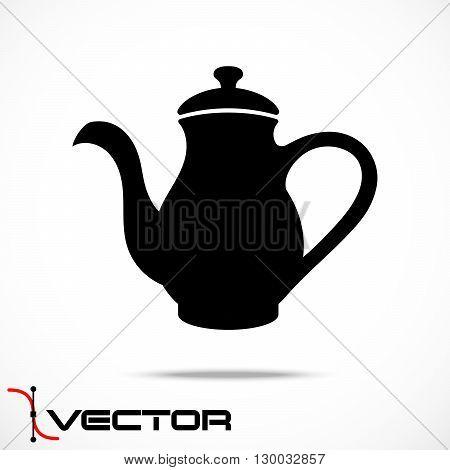 Vector Teapot Silhouette Icon on White Background