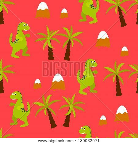 Dinosaur kid seamless vector pattern for textile print. Green cute cartoon dino reptile with palm trees on red. Baby fabric pattern.