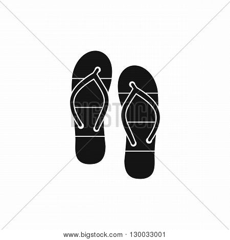 Summer slippers for beach icon in simple style isolated on white background. Summer and heat symbol