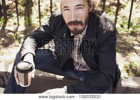 Man With Coffee In Paper Cup, Outdoor Photo