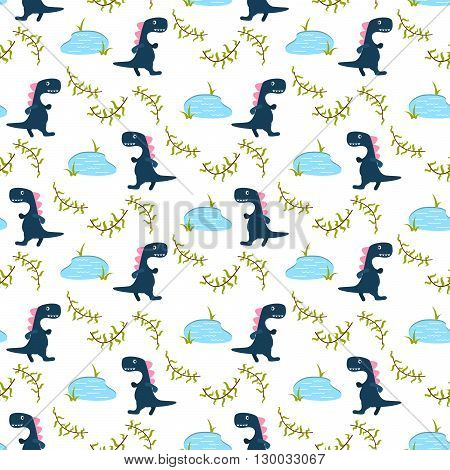 Dino kid seamless vector pattern for textile print. Blue happy cartoon dino reptile with lake on white. Baby fabric pattern.