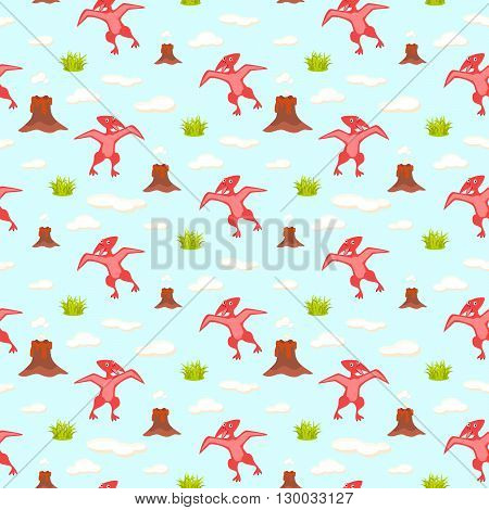 Pterodactyl kid seamless vector pattern for textile print. Red happy cartoon dino reptile with clouds and volcano on blue. Baby fabric pattern.