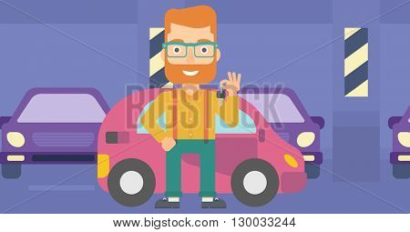 Man holding keys from new car.