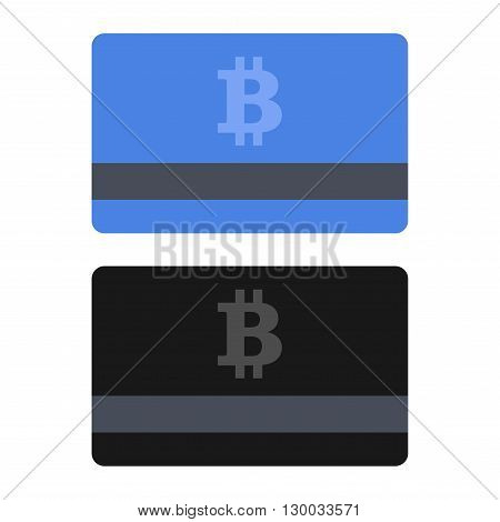 Bitcoin Credit Card Set. Flat Style Icons. Vector illustration