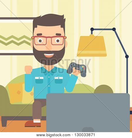 Man playing video game.