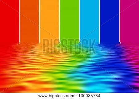 Illustration of spectrum colors reflecting on water