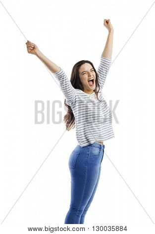 Happy woman with arms up and yelling of happiness