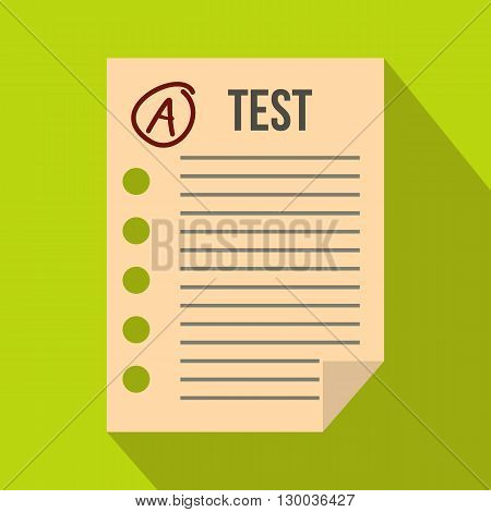 Test paper icon in flat style on a green background