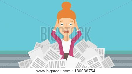 Woman in stack of newspapers.