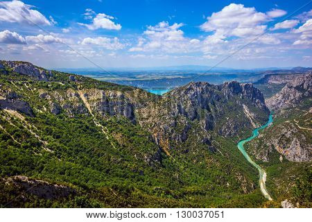 The alpine canyon Verdon spring. Canyon of Verdon, Provence. Turquoise water of the river is flowing at the bottom of the gorge