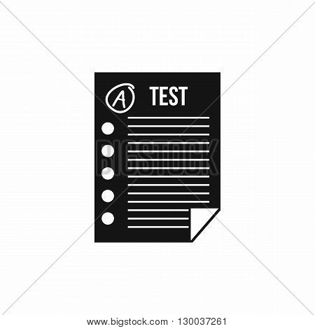 Test paper icon in simple style on a white background