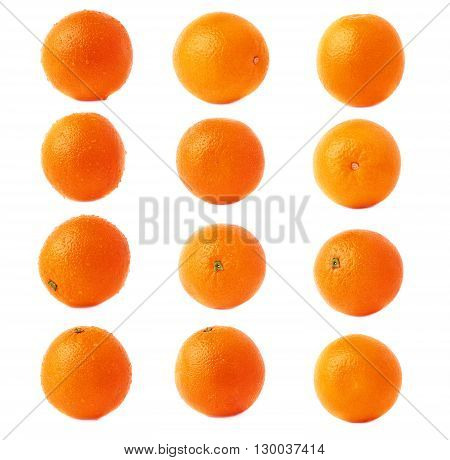 Orange ripe fruit covered with the multiple water drops, isolated over the white background, set of different foreshortenings
